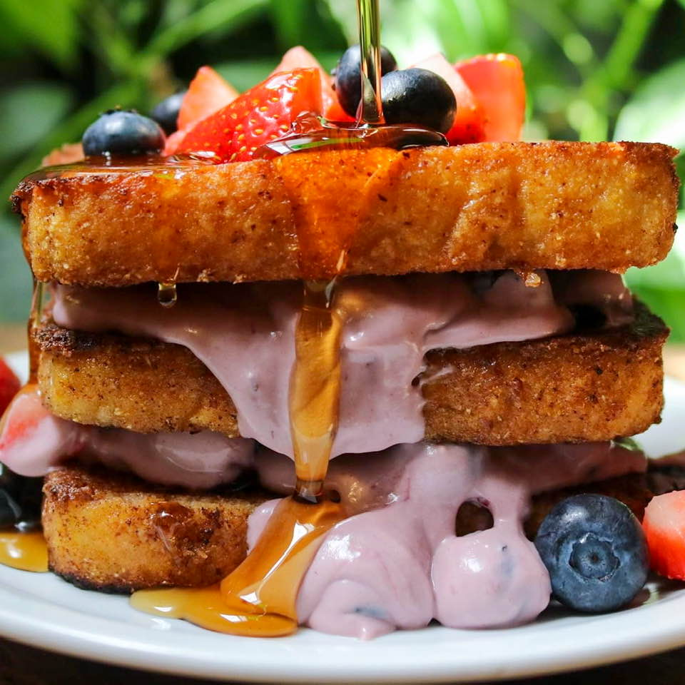 Final berries and cream cheese layered French toast