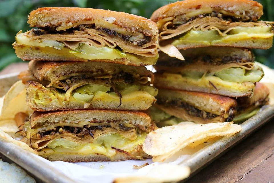 Stack of vegan Cuban sandwiches