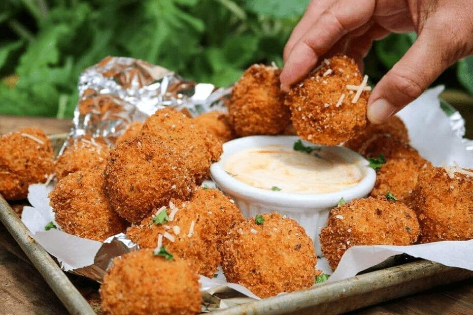 Final fried vegan mac and cheese balls