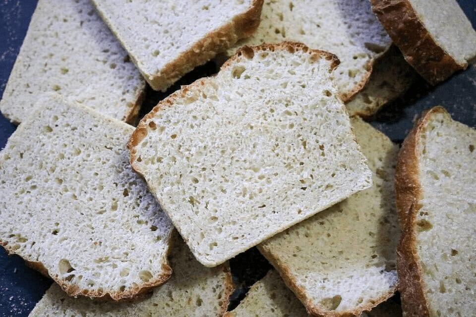 Stack of sliced bread