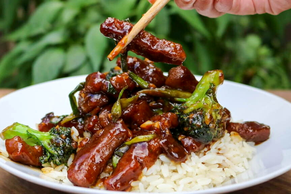 A close up look at a piece of seitan Mongolian beef