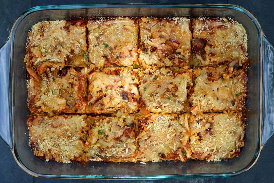 A baking dish full of lasagna
