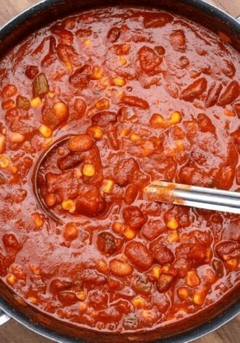 Big pot of vegan chili