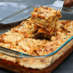 Scooping out a piece of the best vegan lasagna ever