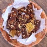 A bowl full of saltine cracker vegan toffee candies
