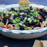 A close up shot of the vegan taco dip