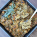 Baking dish full of southern-style vegan stuffing
