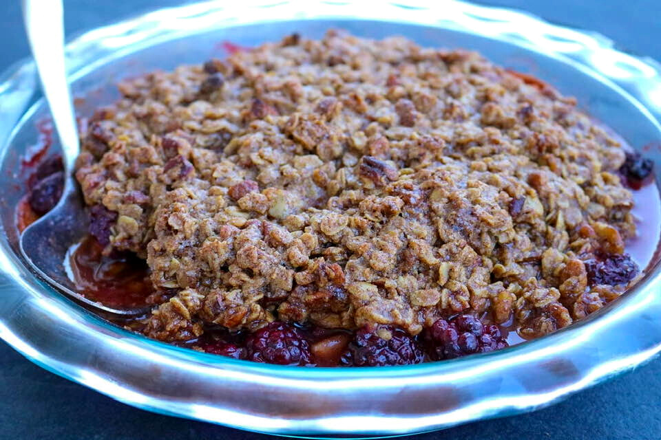 A close up look at the pecan-oat crumble topping.