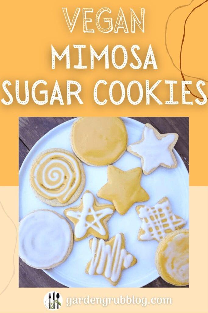 Mimosa vegan sugar cookies pin for Pinterest
