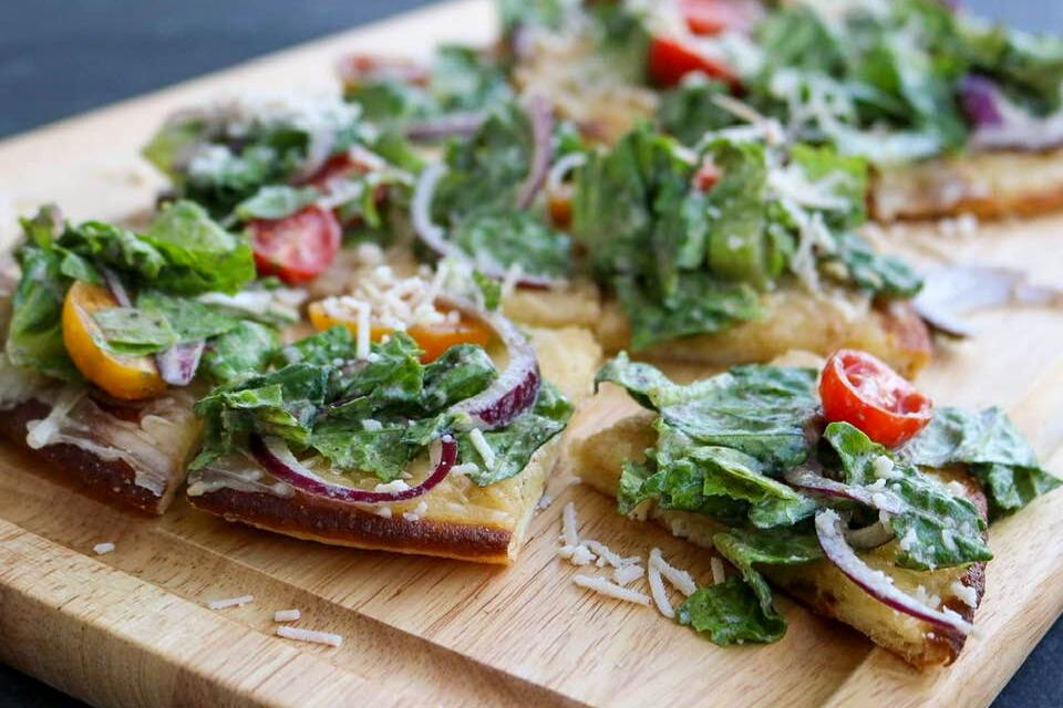 A close up look at the Caesar salad vegan pizzas