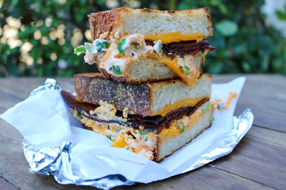 Vegan jalapeno popper and bacon grilled cheese sandwich