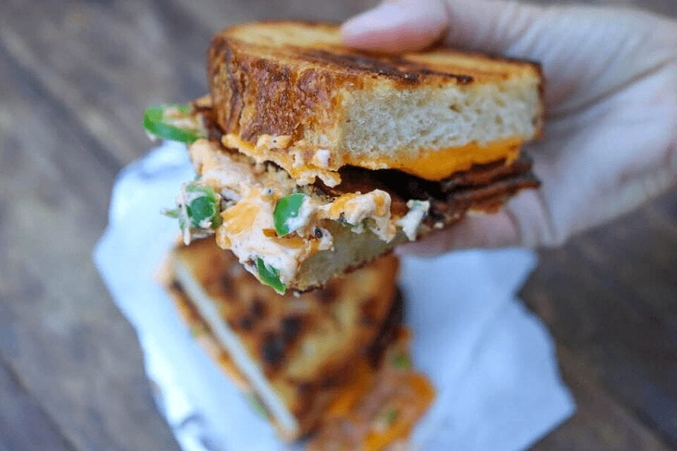 A close up look at the bacon grilled cheese sandwich