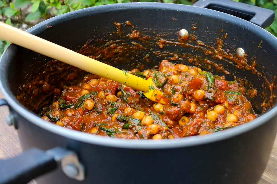 A close up look at the vegan Moroccan tagine