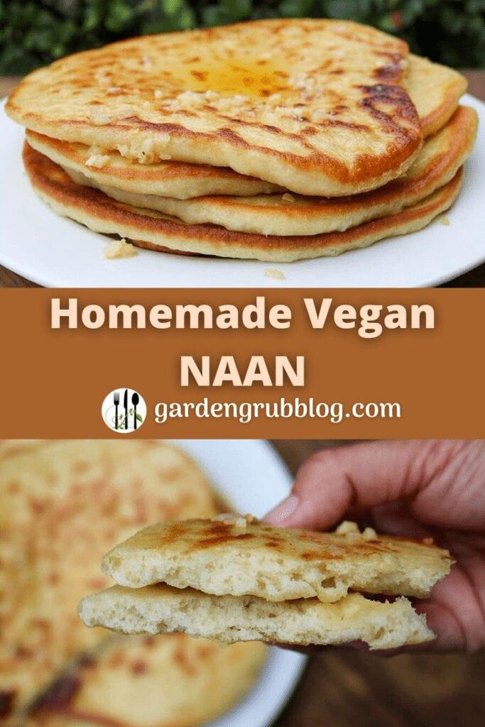 Vegan naan bread recipe pin for Pinterest