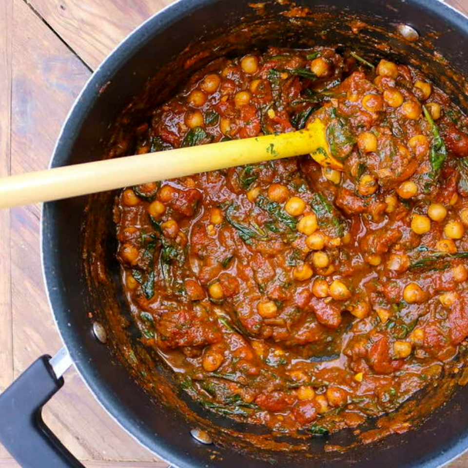 A big pot of vegan Moroccan tagine