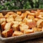 A sheet pan full of vegan croutons