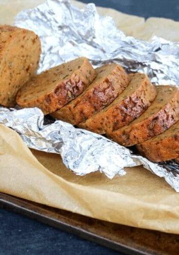 Vegan breakfast sausage loaf cut into slices