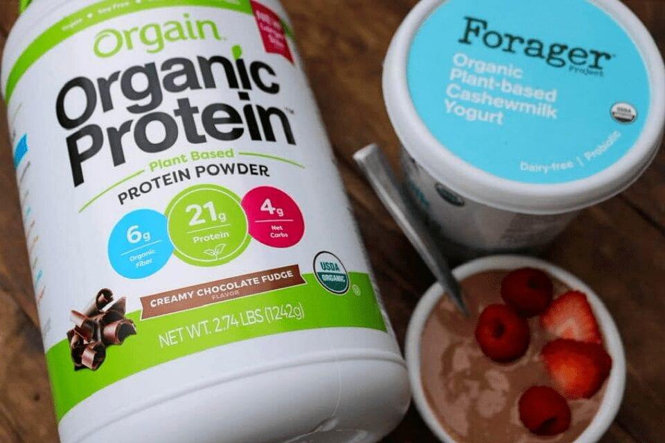 Orgain creamy chocolate fudge protein powder and Forager cashew yogurt