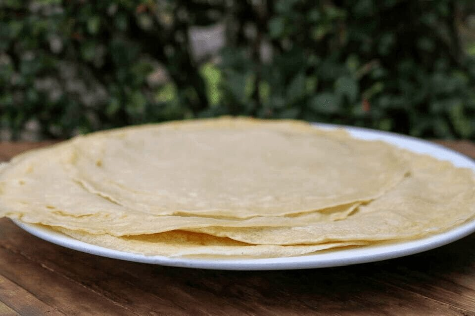 A plate full of vegan crepes