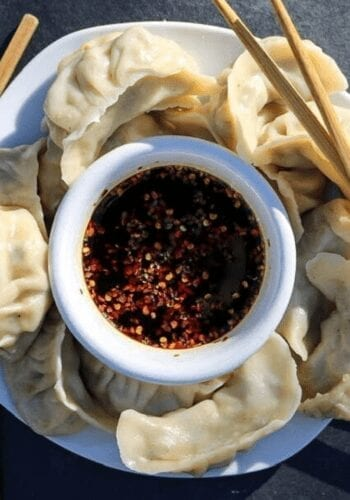 A plate full of vegan potstickers