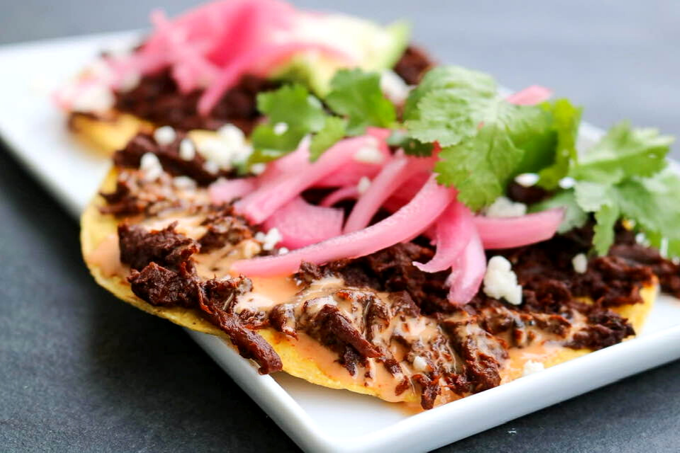 A close up look at one of the tostadas