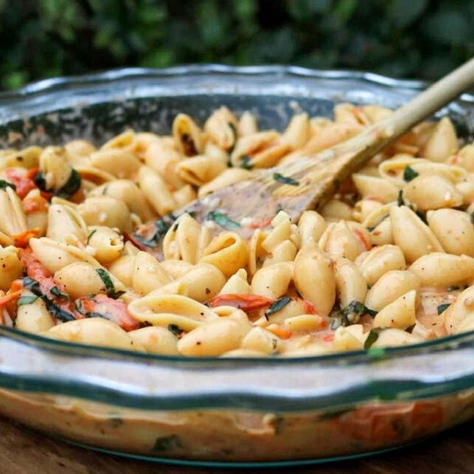 A bowl full of vegan pasta salad