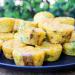 Vegan egg bites piled on a plate