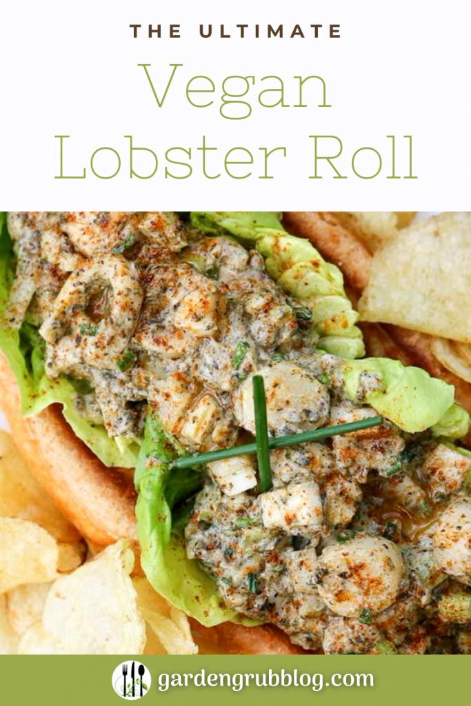 Vegan lobster roll pin for Pinterest