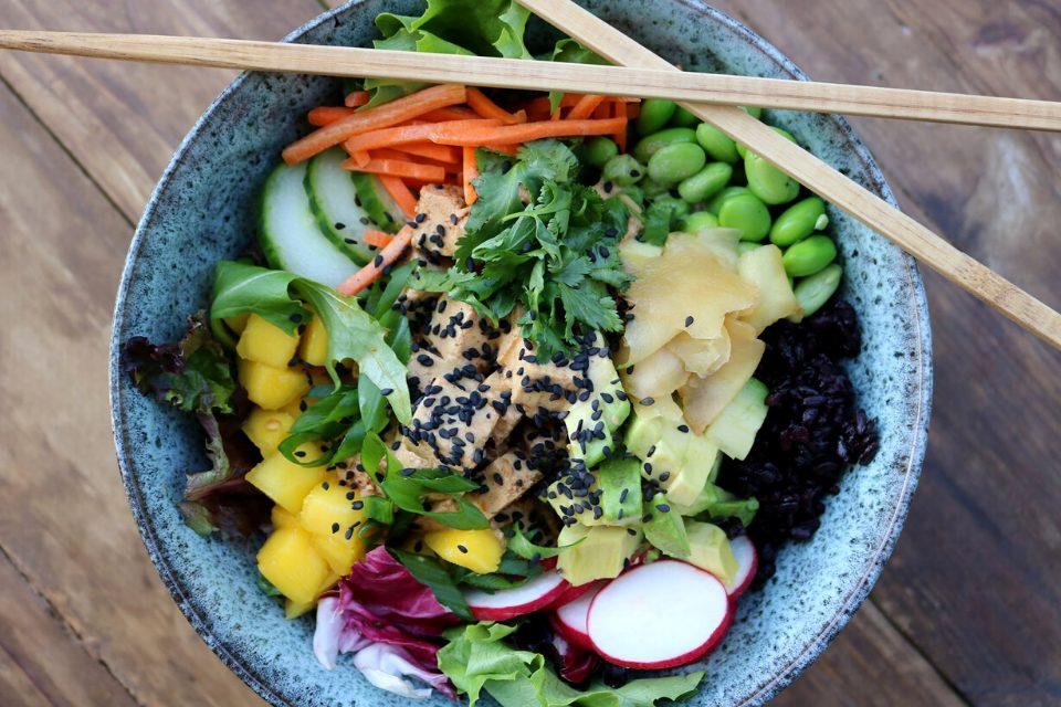 Vegan poke salad bowl