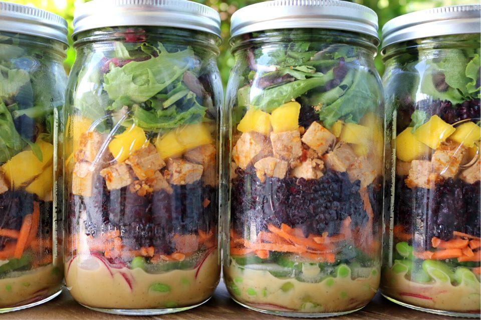 A close up look at the vegan salad jars