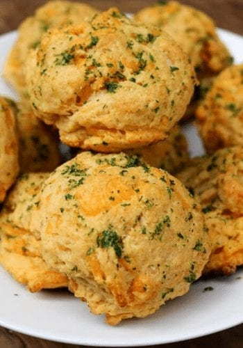 A plate of vegan red lobster biscuits