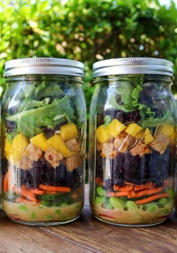 Vegan poke salad jars
