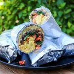 Healthy vegan breakfast burritos
