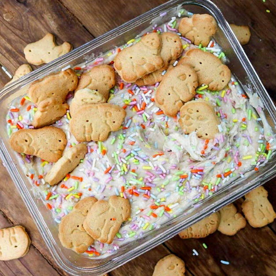 A container full of vegan dunkaroo dip