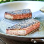 Vegan salmon fillets in a pan