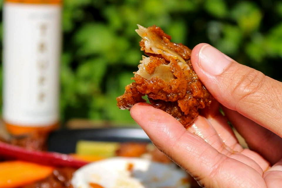 Showing what the texture of the inside of the vegan wing looks like