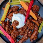 Vegan wings on a platter
