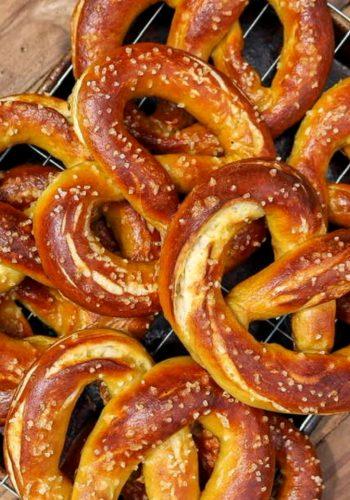 Vegan soft pretzels on a wire rack