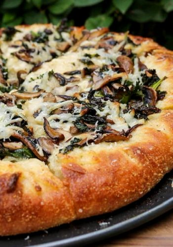 Vegan stuffed crust pizza