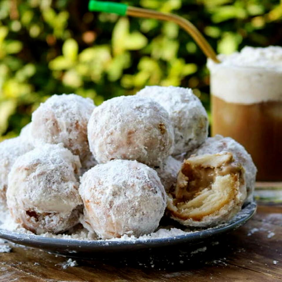 Coffee cream filled vegan donuts