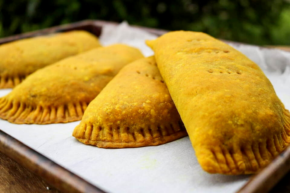 Close up look at the crust of the vegan jamaican beef patties