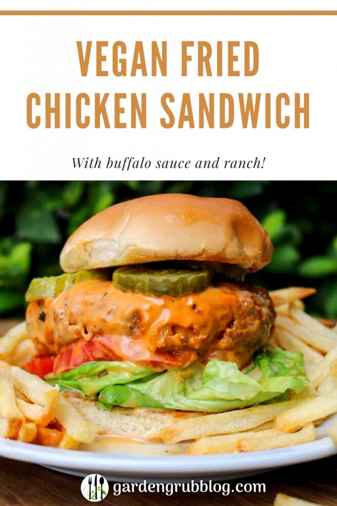 vegan fried chicken sandwich pin for pinterest