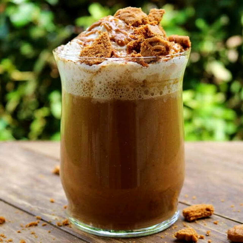 Vegan pumpkin spice latte with cookie butter