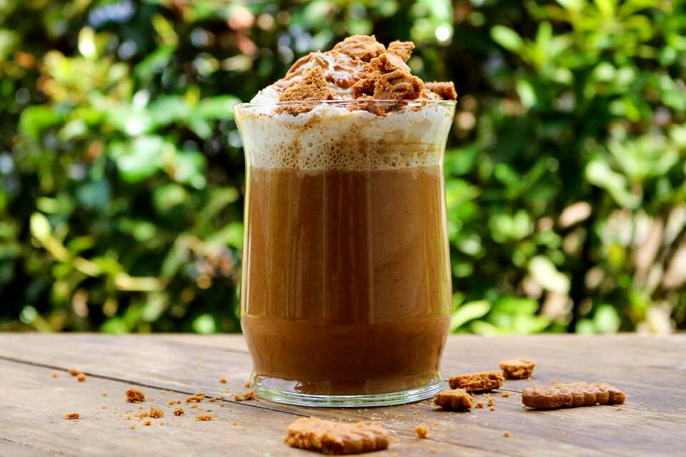 Homemade vegan pumpkin latte