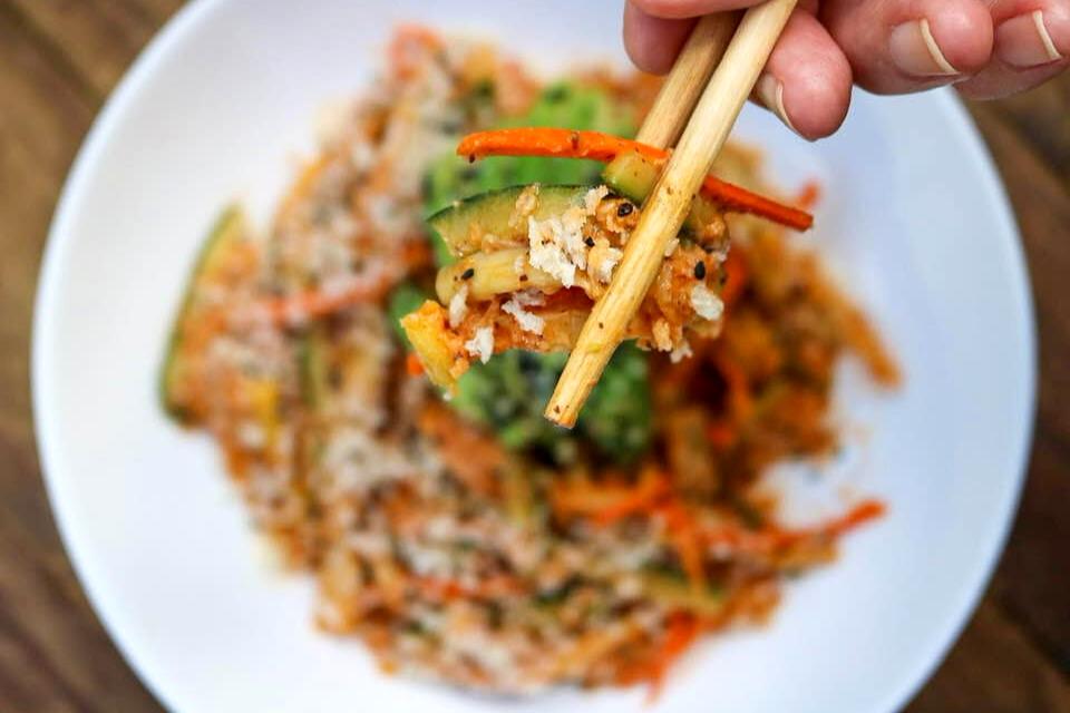 A close up look at vegan Kani salad